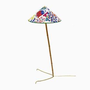 Austrian Brass Bamboo Claw Foot Floor Lamp from J.T.Kalmar, 1950s