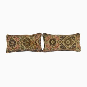 Geometrical Turkish Oushak Rug Cushion Covers, Set of 2