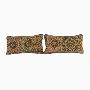 Geometrische türkische Oushak Teppich Kissenbezüge, 2er Set