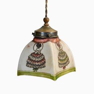 Handbemalte Deckenlampe, 1920er