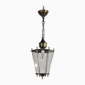 Lampada lanterna in ottone e vetro, anni '50