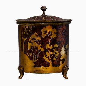 Scatola rotonda Arts & Crafts in ottone e legno di Erhard & Söhne, Austria, anni '20