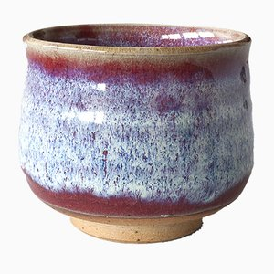 Handmade Stoneware Teacup with Oxblood and Chun Glaze by Marcello Dolcini