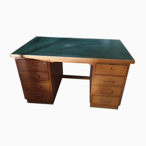 Large Italian Linoleum Top Desk with Side Drawers, 1950s