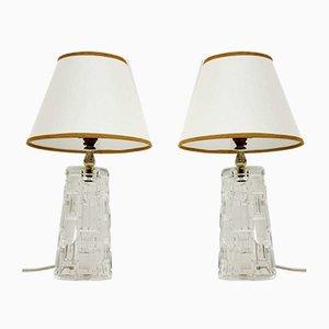 Mid-Century Glas Tischlampen, 1960er, 2er Set