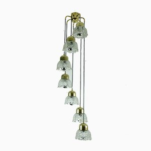 Mid-Century Brass Cascade Chandelier with Petal Shaped Glass Shades, 1960s