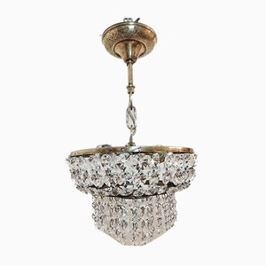 Mid-Century Crystal and Brass Ceiling Lamps, Set of 2