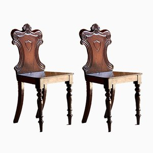 Antique Victorian Mahogany Hall Chairs, 1820s, Set of 2