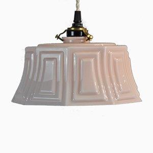 Lampada da soffitto in vetro opalino rosa, anni '30