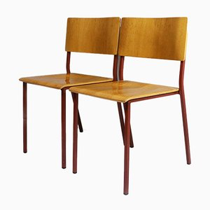 Red Stacking Chairs, 1970s, Set of 4