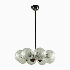 Große Vintage Deckenlampe aus Glas & Chrom