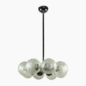 Large Vintage Glass & Chrome Ceiling Lamp