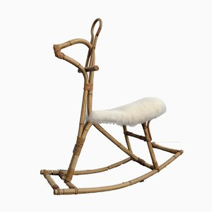 Bamboo Rocking Horse by Dirk van Sliedregt for Rohé Noordwolde, 1950s