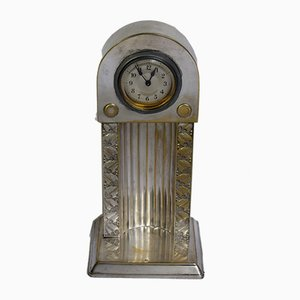 Antique Austrian Table Clock by J. E. Margold for Wolkenstein & Glückselig