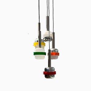 Italian 4-Light Suspension Pendant Lamp, 1950s