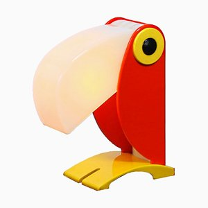 Red Toucan Bird Table Lamp from OTF Oldtimer Ferrari Italy, 1960s