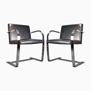 Sedie cantilever in pelle nera di Ludwig Mies van der Rohe per Knoll Inc. / Knoll International, anni '80, set di 2