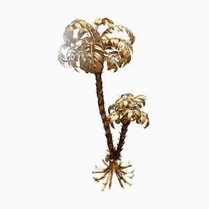 German Gilt Metal Two-Trunk Palm Tree Floor Lamp by Hans Kögl, 1970s