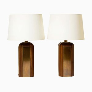 Mid-Century Brass and Mahogany Table Lamps, Set of 2