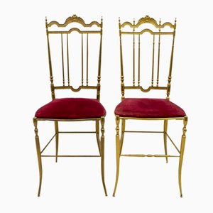 Mid-Century Modern Brass Him & Her Dining Chairs by Gaetano Descalzi for Chiavari, Italy, 1950s, Set of 2