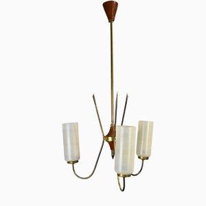 3-armige Deckenlampe, 1950er