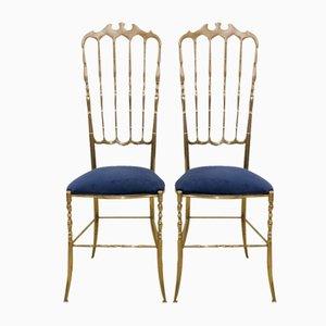 Chaises à Dossier Haut Chiavari Mid-Century, 1950s, Set de 2