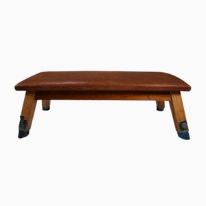 Vintage Patinated Leather Gym Bench or Table, 1950s