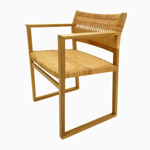 Vintage Oak and Cane Model BM61 Armchair by Børge Mogensen, 1950s