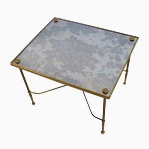 Table d'Appoint Vintage en Verre Scellé et Laiton de Maison Jansen, 1980s