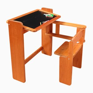 Pine Articulated Children's Desk with Integrated Seat, 1970s