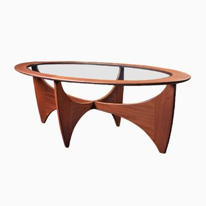 Mid-Century Teak and Glass Astro Oval Coffee Table by Victor Wilkins for G-Plan, 1960s