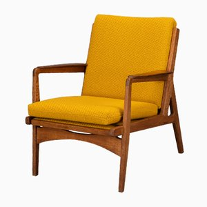 Mid-Century Danish Dark Oak with Ocher Yellow Pillows Accent Chair, 1960s