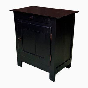 19t Century Black Patinated Pinewood Cabinet