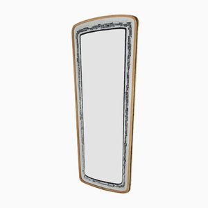 Vintage Elongated Wall Mirror with Black & Grey Decorated Edge, 1960s