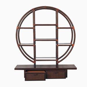 Mensola vintage rotonda in bambù, anni '80