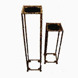 Mueble Art Déco francés vintage de hierro y bambú. Juego de 2