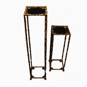 Vintage French Art Deco Iron & Bamboo Etagère, Set of 2
