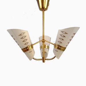 3-Arm Deckenlampe im Art Deco Stil, 1950er