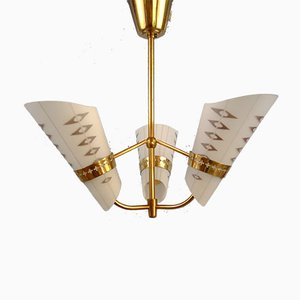 Art Deco Style 3-Arm Ceiling Lamp, 1950s