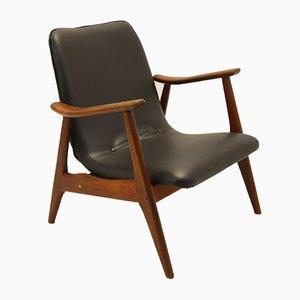 Schwarzer Armlehnstuhl aus Skai & Palisander von Louis van Teeffelen für WéBé, 1960er
