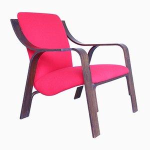 Mid-Century Sessel aus Nussholz & Stoffbezug
