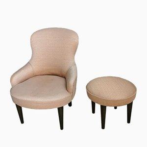 Italienischer Mid-Century Damast Sessel und Fußhocker Set, 1950er