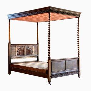 Vintage Tagesbett aus Eiche mit Gedrehtem Gestell & Kopfteil aus Leinen, 1930er