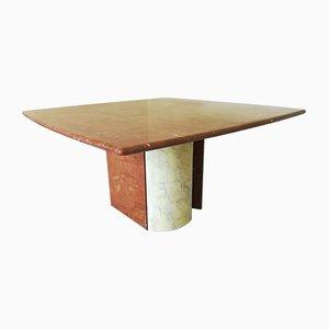 Mesa de comedor vintage de mármol rojo y blanco