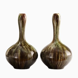 Drip-Glaze Ceramic Bottle Vases by Christopher Dresser for Linthorpe Pottery, 1885, Set of 2
