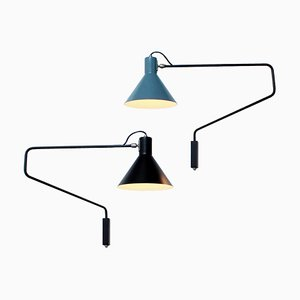 Black and Petrol Blue Paperclip Elbow Sconces by J. J. M. Hoogervorst for Anvia, 1950s, Set of 2