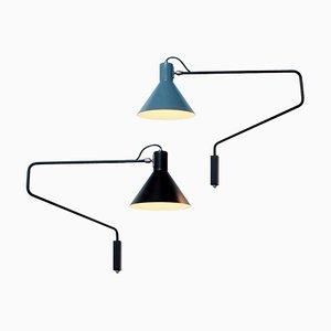 Schwarze & Petrolblaue Wandlampen von JJM Hoogervorst für Anvia, 1950er, 2er Set
