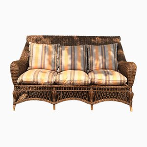 Vintage Bamboo and Wicker Sofas, 1970s, Set of 2