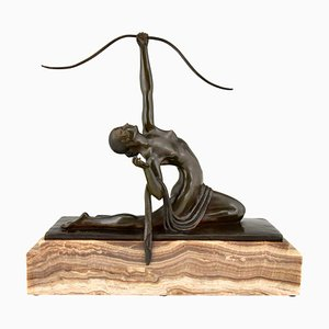 Art Deco Bronze Diana Sculpture with Bow by Marcel Andre Bouraine for Marcel Andre Bouraine, 1920s