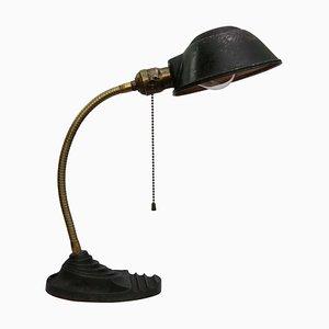 Industrielle Vintage Tischlampe aus Gusseisen, Messing & Metall